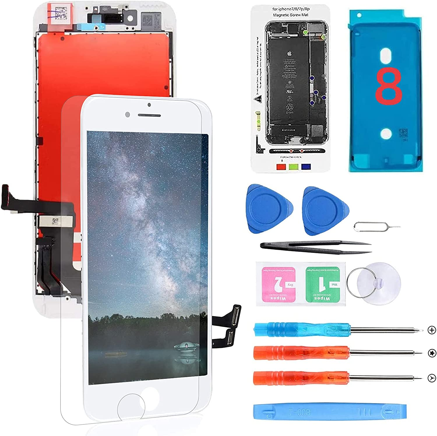 for iPhone 8/SE 2020 Screen Replacement White LCD Display 3D Touch Screen Digitizer Assembly with Screen Protector Repair Tools Kit for A1863, A1905, A1906, A2275, A2298, A2296