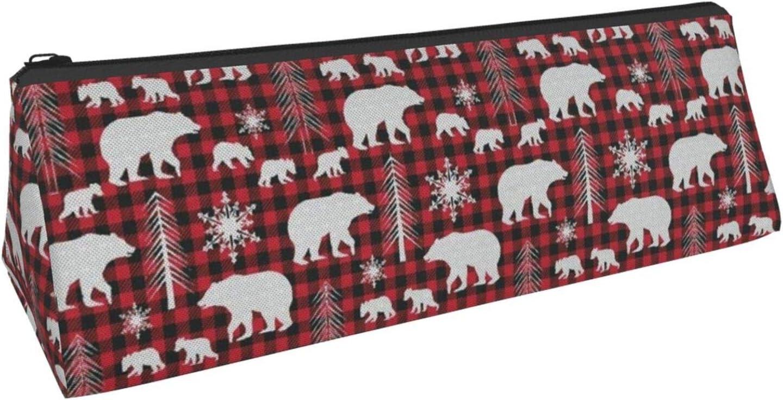 Pencil Case White Christmas Snow Polar Bear On Buffalo Plaid School Pen Pouch Office Zippered Makeup Bag Holder