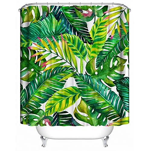 Banana Leaves Waterproof Shower Curtain Polyester Bathroom Accessories With Hooks Tropical Plant Digital Print