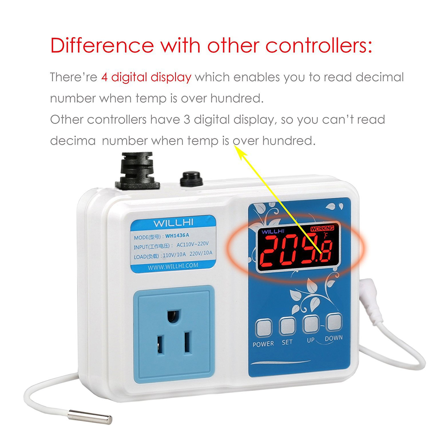 WILLHI WH1436A Temperature Controller 110V Digital Thermostat Switch Sous  Vide Controller NTC 10K Sensor Improved Version