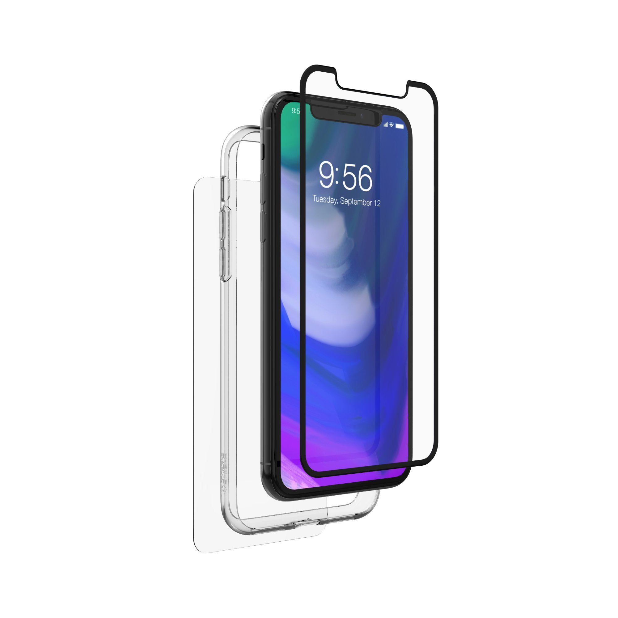 ZAGG InvisibleShield Glass+ 360 - Front + Back Screen Protection with Side Bumpers Made for Apple - Black iPhone X / XS by ZAGG