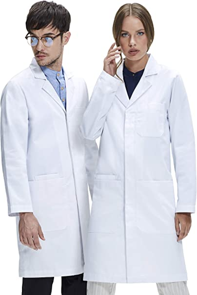 Medical Doctor Unisex Men Women Lab Coats White Labcoat Long Jacket Size S-3XL