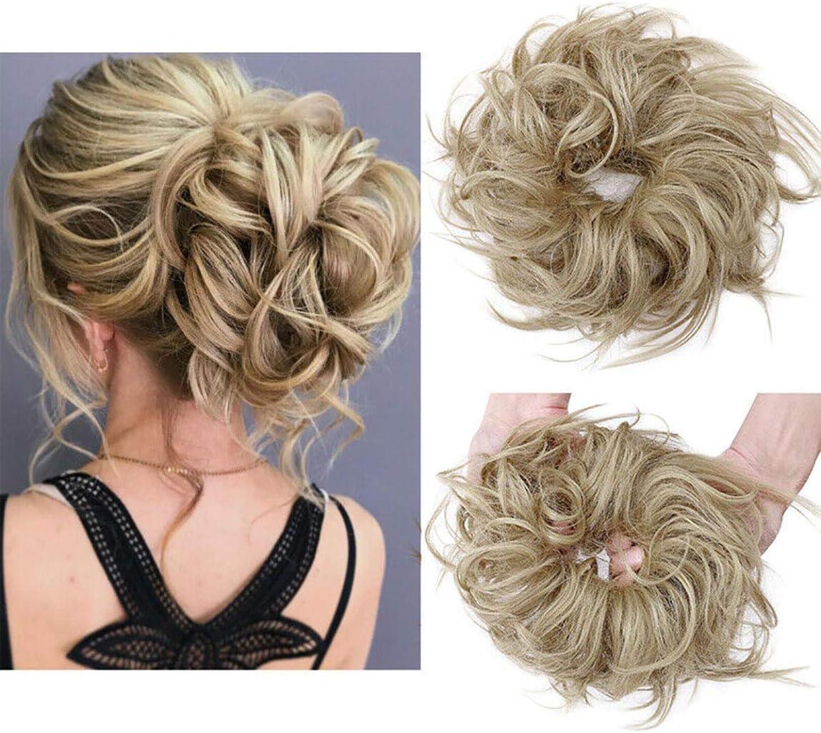 Moda Peinado Updo despeinado Scrunies de pelo con moño desordenado Extensión de cabello de cola de caballo para mujer Rubio ceniza