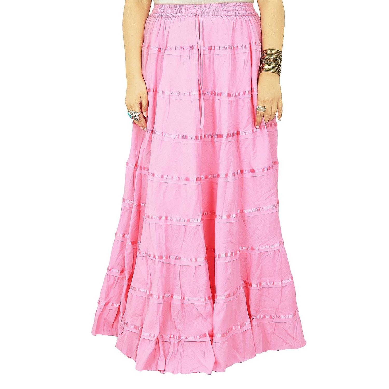 Beach Wear Baumwolle Rock lang Maxi Boho Hippie Lace Women Indian Kleidung Geschenk für sie