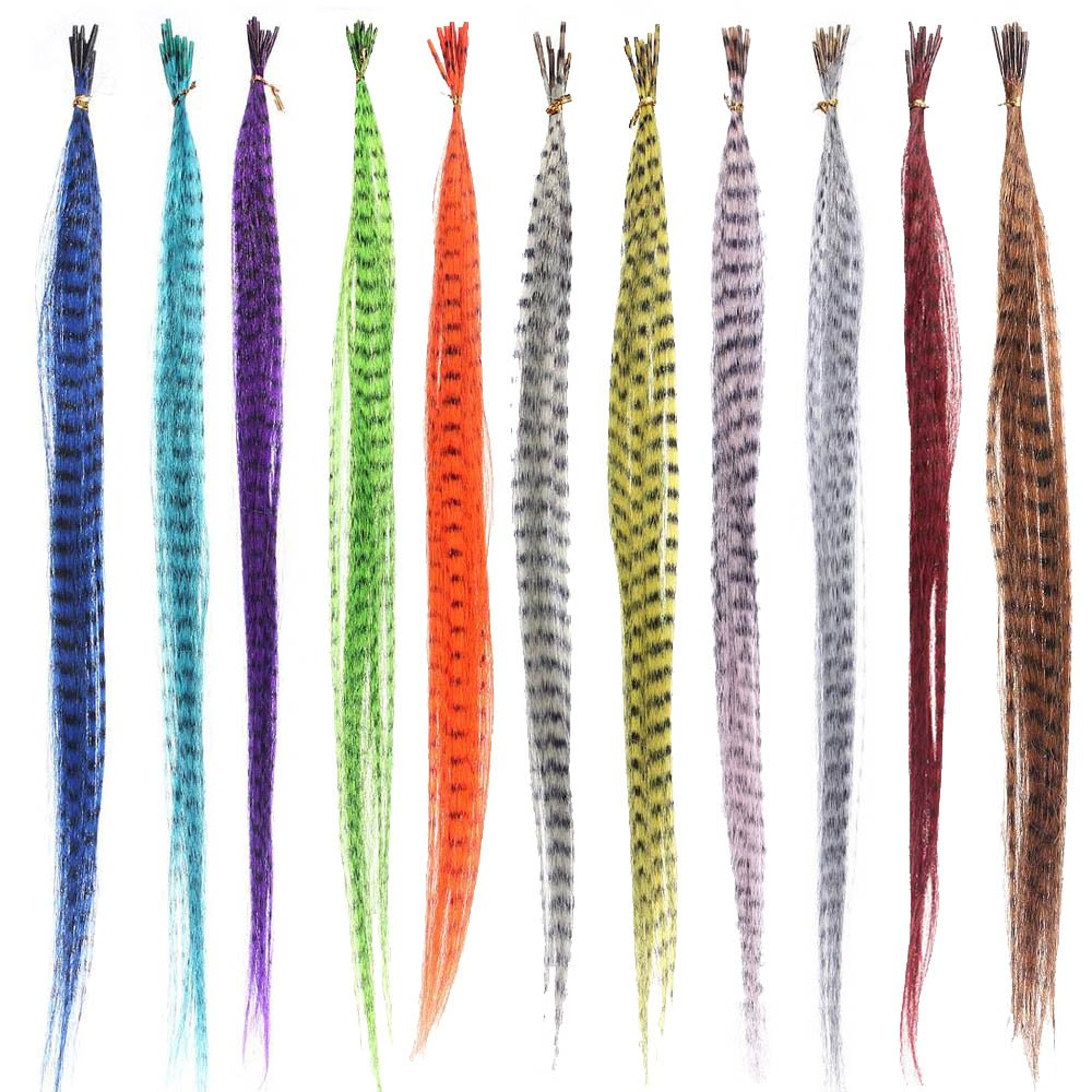 55PCS Synthetic Straight Multi-color Feathers Hairpiece Wig Hair Extension Beauty Tool Elisona