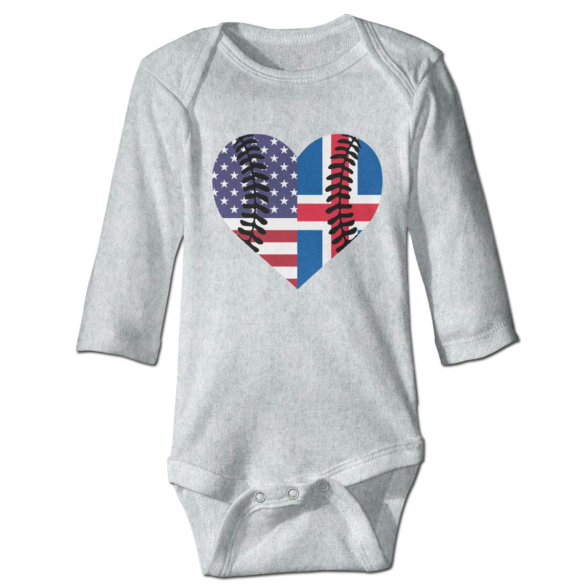 A14UBP Infant Baby Boys Girls Long Sleeve Baby Clothes Iceland USA Flag Half Baseball Unisex Button Playsuit Outfit Clothes