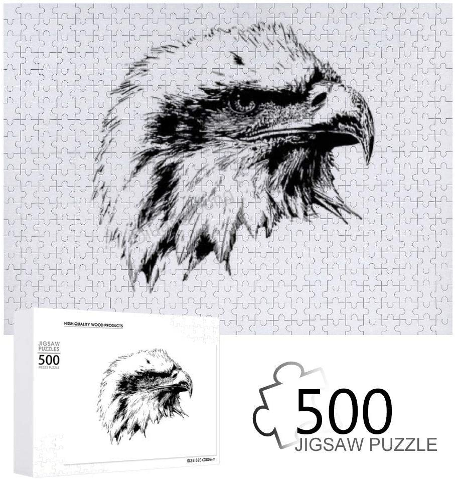 WOODEN PUZZLE BALD EAGLE 500 PIECES WOODEN JIGSAW PUZZLE ARTWORK ART LARGE SIZE TOY GIFTS FOR EADULTS & TEENS BOYS AND GIRLS HOME DECOR(25.9 IN X 19.7 IN)