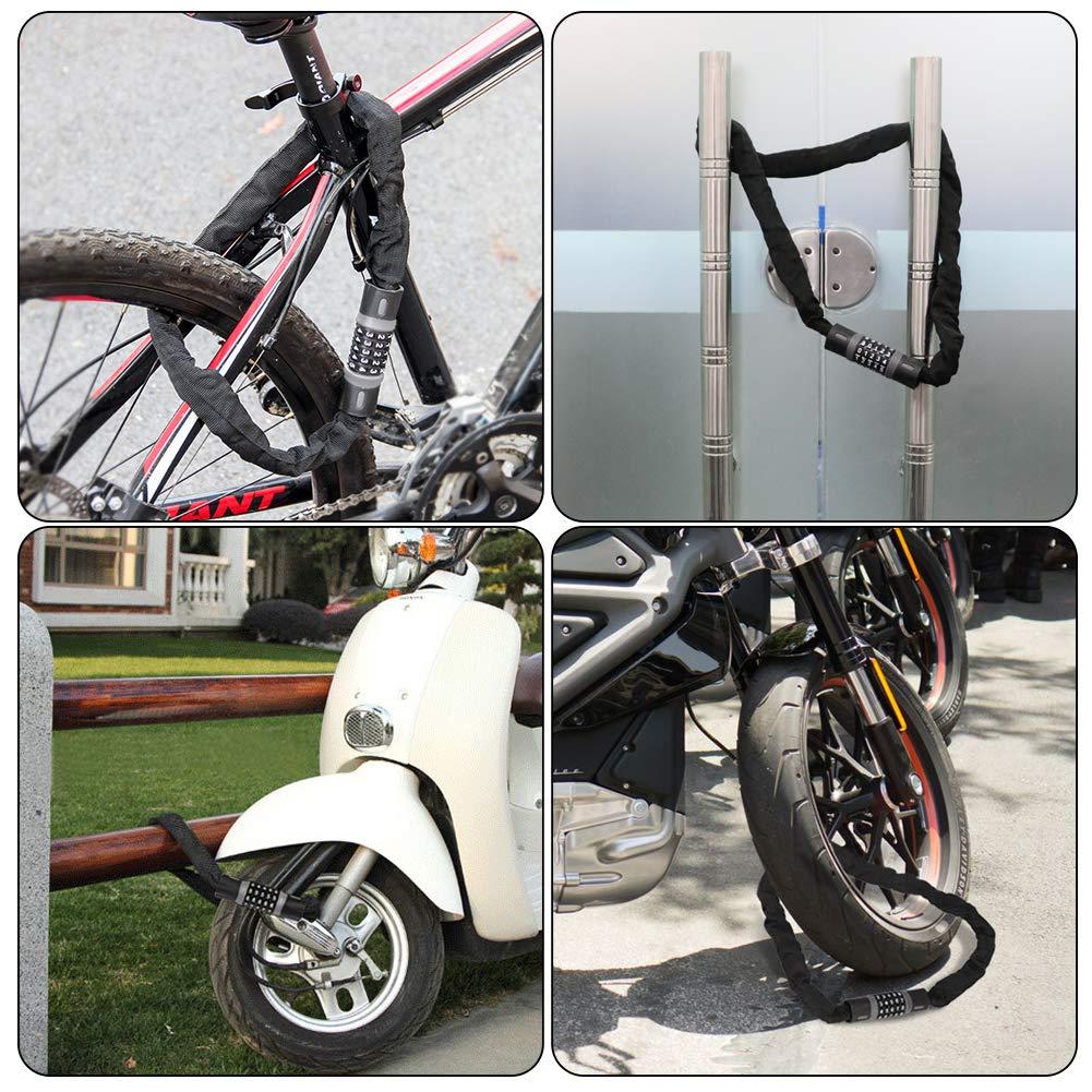 6 mm DIAOPROTECT Lucchetto Bici,Lucchetto per Bicicletta,Catena Lucchetto per Bici a 5 Cifre Combinato,Catena Antifurto Blocco per Bicicletta,Moto,Scooter,Passeggini,Recinzioni e Cancelli 120 cm