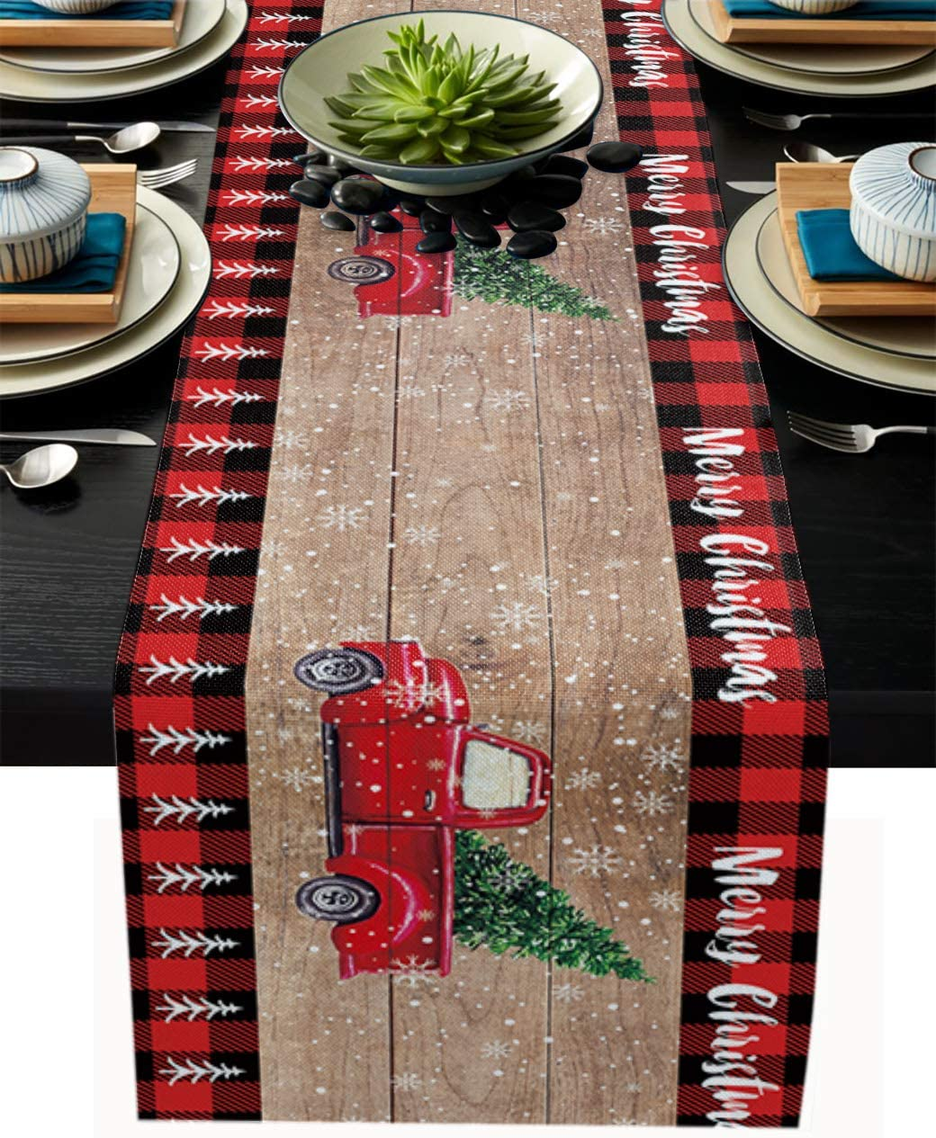 Christmas Red Truck Table Runner-Black Buffalo Plaid Check-Cotton Linen-Winter Dinner Scarf Décor,Long 72 Inch Holiday Xmas Tree Dresser Scarves,Farmhouse Coffee/Dining home Living Room Tablerunner