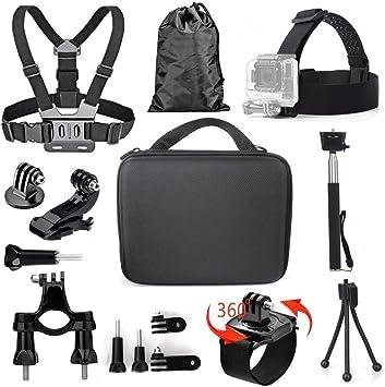 Tekcam Kit de accesorios de cámara de acción compatible con GoPro Hero 8, 7, 6, AKASO EK7000 4K Crosstour Campark APEMAN Victure cámara impermeable: Amazon.es: Deportes y aire libre