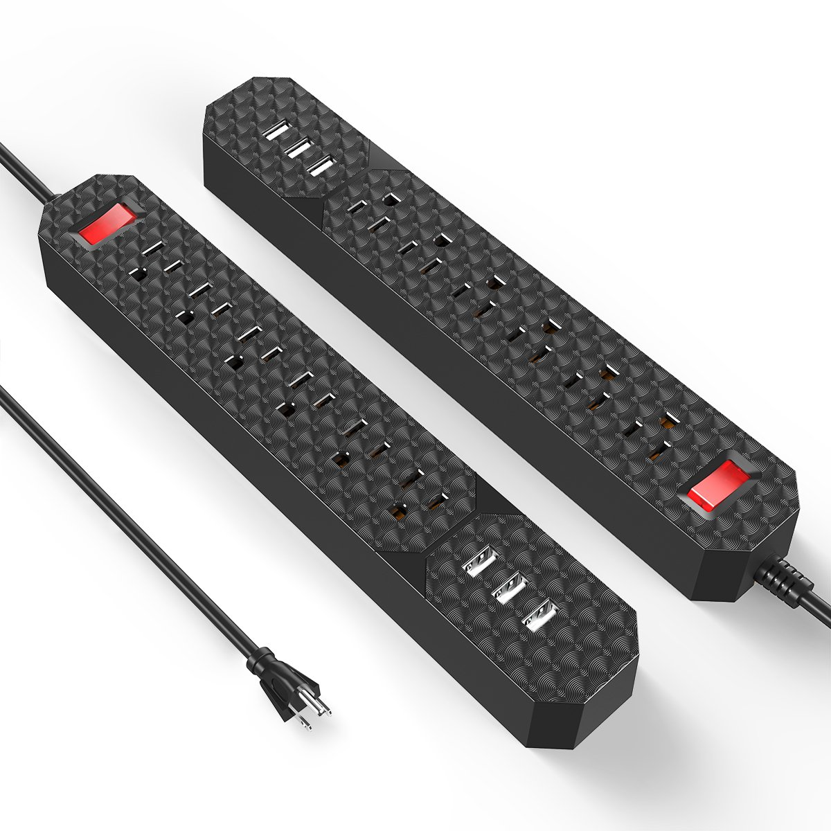 Poweradd 6-Outlet Surge Protector Power Strip with 3-Port USB Charger Wall Mount Design, 6 foot Extension Cord - 2 Pack