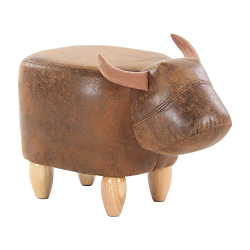 Artechworks Upholstered Ride-On Animal Ottoman Footrest Stool with Vivid Adorable Animal-Like Features,Perfect for Gift, Changing Shoes, Decoration, Toys, Without Storage Brown Buffalo , Brown