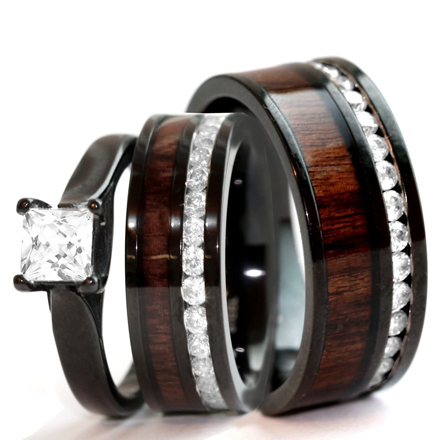 KingswayJewelry His /& Hers Natural Koa Wood CZ 3 pcs Surgical Black Stainless Steel Engagement Wedding Rings Set KJ-481