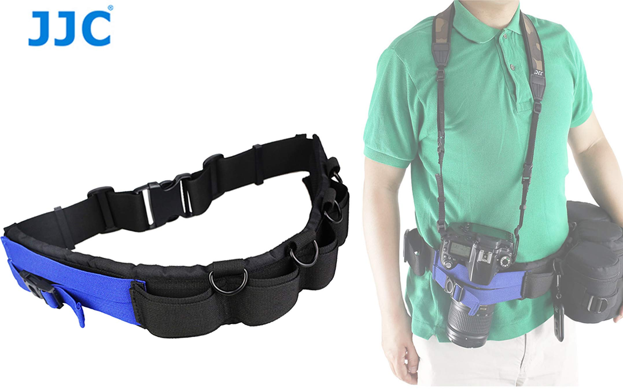 JJC GB-1 Adjustable Photography Utility Belt, Wrist Waistband Belt, Accessory Belt, Speed Belt, for Carrying Gear Bag Case, Lens Pouch, Flash Accessories, Belt Components, D-Rings, Breathable 3D Mesh by Fotasy
