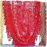 Fletion Femmes Ladies Lace Tassel Sheer Burnout Floral Imprimer Triangle Scarf Shawl Neck Wraps Printemps Automne Hiver charpes Foulards