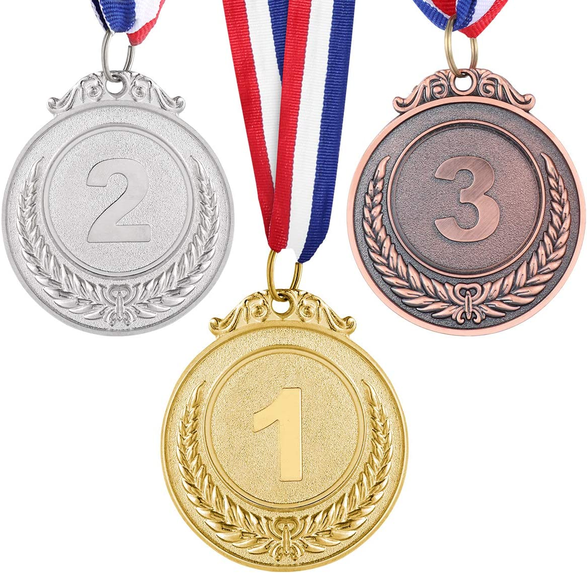 NUOBESTY Ganador de Metal medallas de Oro, Bronce y Plata con Cinta para el Cuello, Estilo olímpico, 1er 2do 3er Lugar, 3 Piezas