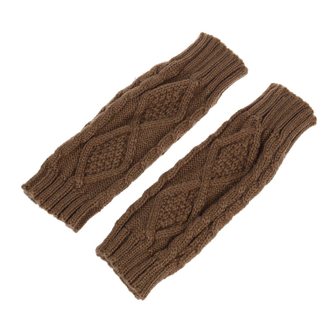 SODIAL (R) Guanti Inverno mezza dita / senza dita caldo grosso a trecce unisex-Khaki SODIAL(R)