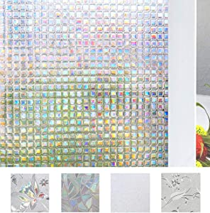 Bloss 3D Decorative Window Film,Privacy Mosaic Glass Film for Home Office Anti UV 17.7by78.7 Inches