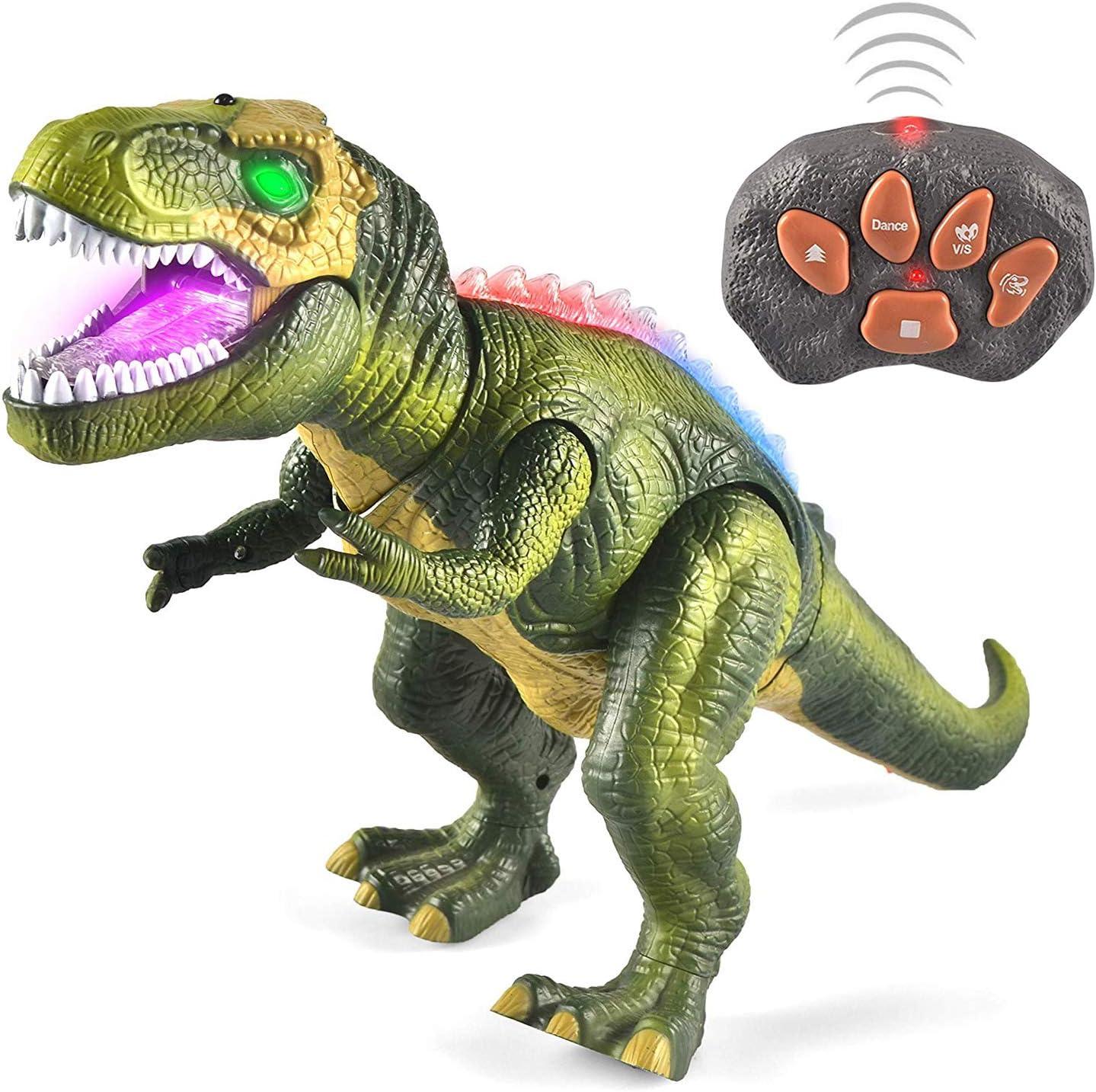 JOYIN Dinosaurio de Control Remoto Electric Mando a Distancia T-Rex Dinosaurio con luz y Rugido Realista Juguetes Niños 3 4 5 años