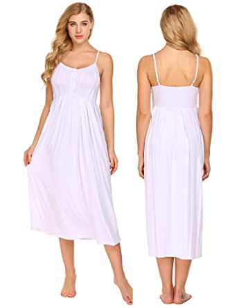 446e9b6109 Acecor Women s Sleepwear Solid Color Sleeveless V Neck Nightgown Soft  Nightdress Sleeping Dress(White S
