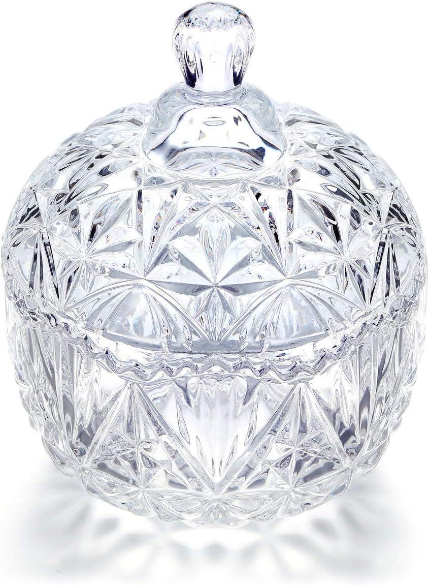 CrystalTears Glasbeh/älter mit Deckel farblos Entmagnetisierung Sch/üssel Kleine Zuckerdose Glasdose Snacks Kristall Schmuckzubeh/änger Deko Wohnzimmer