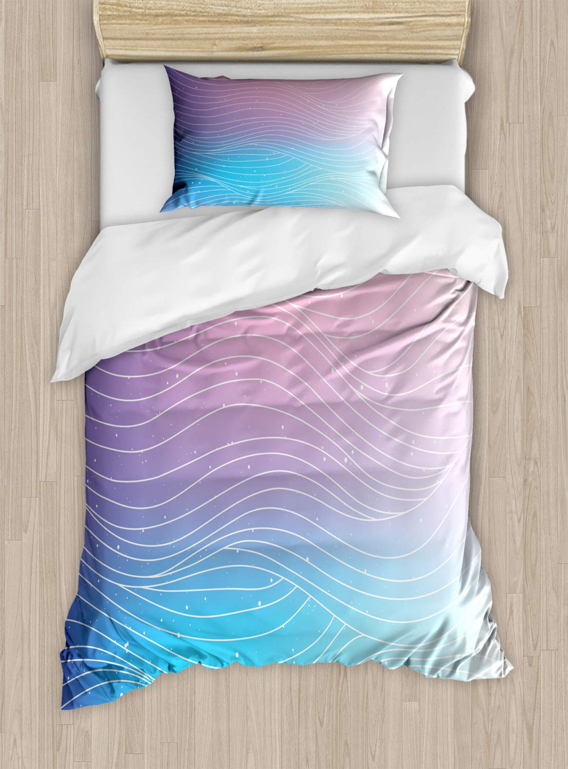 Ambesonne Abstract Duvet Cover Set, Nebula Sky Inspired Ombre Effect Pattern with Waves and Spots, Decorative 2 Piece Bedding Set with 1 Pillow Sham, Twin Size, Blue Violet