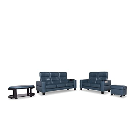 Stressless Designer Leather Sofa Set Blue Petrol 1x Three ...