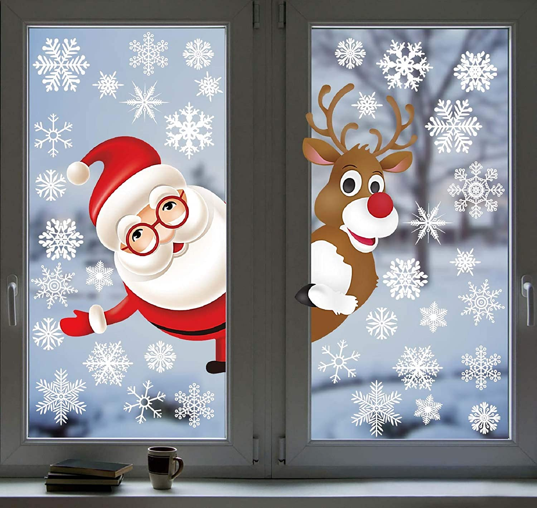 12 Blatt Weihnachten Santa Schneeflocke Weihnachten Aufkleber vorhanden