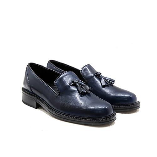 Mocassini Artigianali in Pelle Blu con Nappine Scarpe Eleganti Uomo  Mocassino Artigianale Calzature Italiane Leather Loafers b91a9d70903