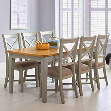 ea52976243c8 6-8 Seater Dining Table Shabby Chic Wood Pine and Chairs Set 6 Rustic Square