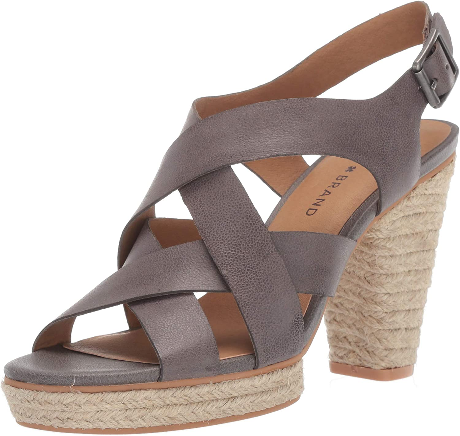 Lucky Brand Womens Cabino Leather Open Toe Strappy Heel Sandal