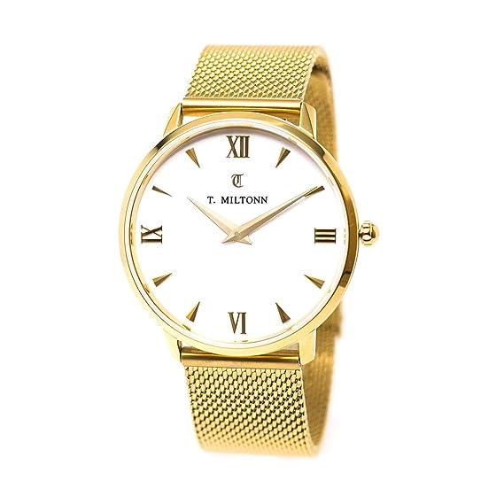 Reloj mujer extra-plate chapado oro amarillo pulsera malla Milanaise oro amarillo