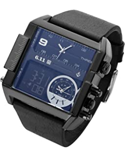 Square Men Watch Multiple Time Zone Quartz Watches Mens Leather Led Wristwatch Waterproof Relogio Masculino (