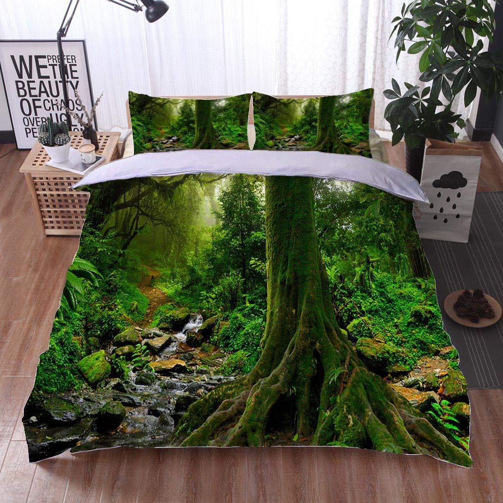 VROSELV-HOME Style 3D Digital Print Bedding Sets,Rain Forest in Northern Thailand,Soft,Breathable,Hypoallergenic,Print Duvet Cover Sets Soft Microfiber 3Pcs Quilt Cover
