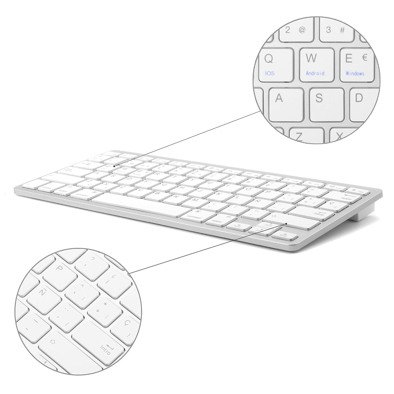 Tableta Teclado Bluetooth, Boriyuan Teclado inalámbrico en español para Mac iPad iPhone iOS Android Windows Smart TV: Amazon.es: Electrónica