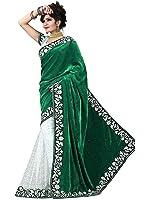 ColorTrendz Women's Velvet Green Saree With Blouse (S 1005-V)