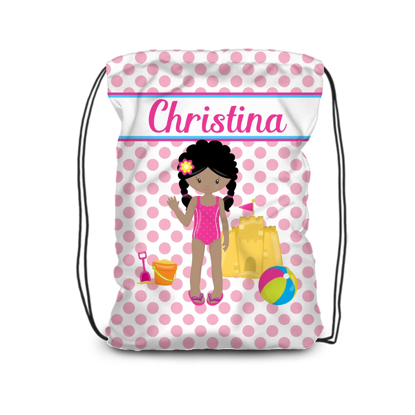 Beach Drawstring Backpack - Girl Pink Dot Pool Bag