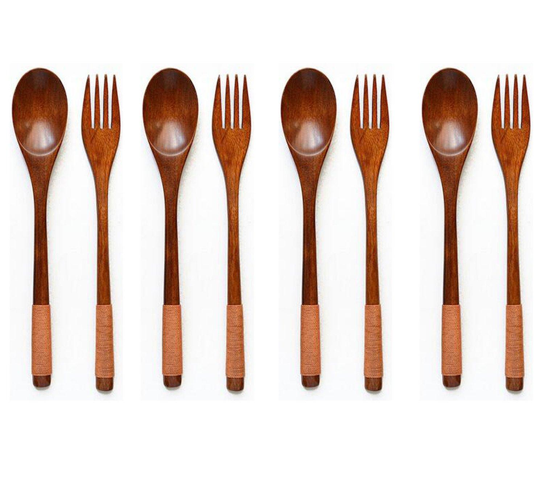 Antrader Kitchen Tableware Dinnerware Flatware Eco friendly Wood Cutlery Wooden Dinner Fork and Spoon Utensil Set(4 Spoons + 4 Forks)
