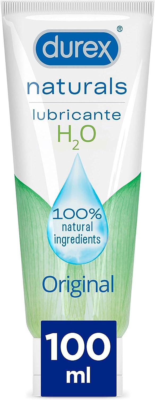 Durex Naturals H2O Lubricante Base Agua, 100% natural sin fragancia, colorantes ni agentes irritantes - 100 ml