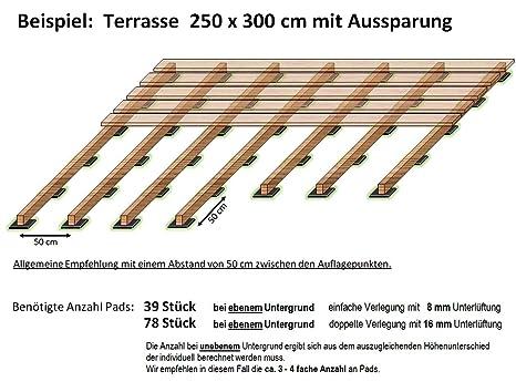 Favorit 100 Stück Profi Terrassenpads 100 x 100 x 8mm, Balken Auflagepads HW89