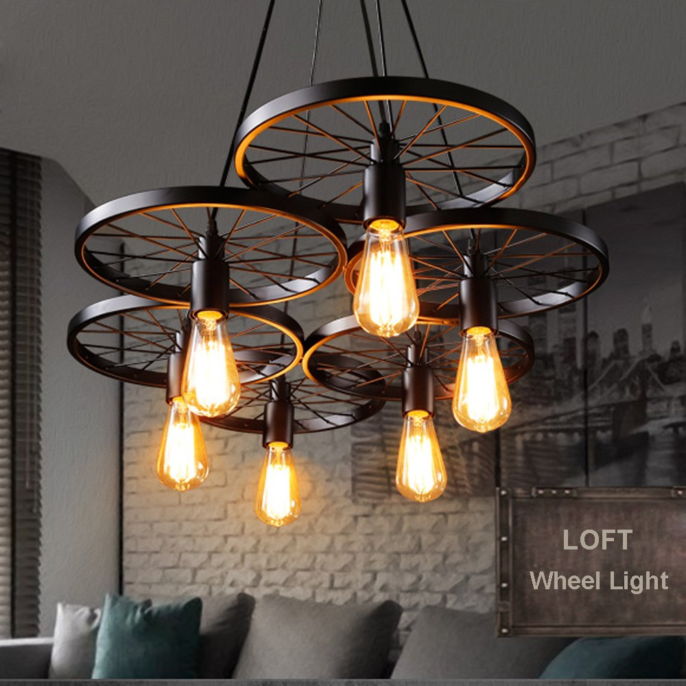 cebff95a19f Buy Edison lamp 6 wheel hanging pendant Vintage industrial loft