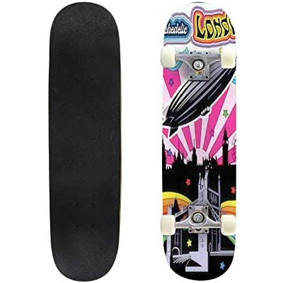Classic Concave Skateboard London Cityscape Tower Bridge Zeppelin Psychedelic Art Poster Colorful Longboard Maple Deck Extreme Sports and Outdoors Double Kick Trick for Beginners and Professionals : Sports & Outdoors
