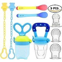 Alimentador de alimentos para bebés Chupete 2 piezas Clips de chupete 2 piezas Cucharas de alimentación para bebés 3 piezas Bolsas de silicona de reemplazo Juguetes de dentición de frutas para bebés Niños Bebés bebés Regalo