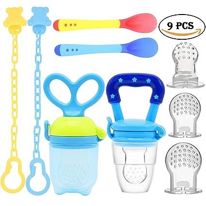 Alimentador de alimentos para bebés Chupete Clips de chupete Cucharas de alimentación para bebés Bolsas de silicona de reemplazo Juguetes de dentición ...