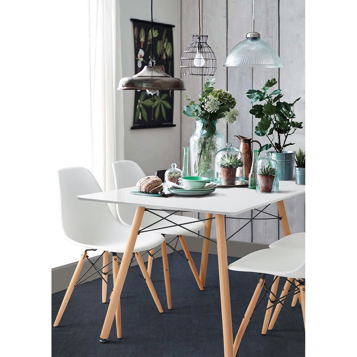 HouseinBox Pack of 4 Dining Scandinavian Chairs Plastic Seat Wooden legs White