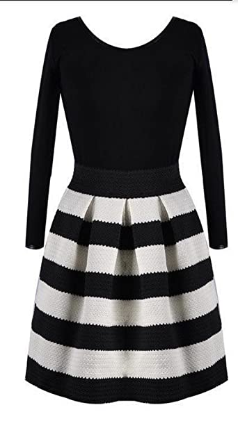 Winter New Fashion Brand Women Striped Knitted Dress Casual O-neck Long Sleeved Mini Vintage