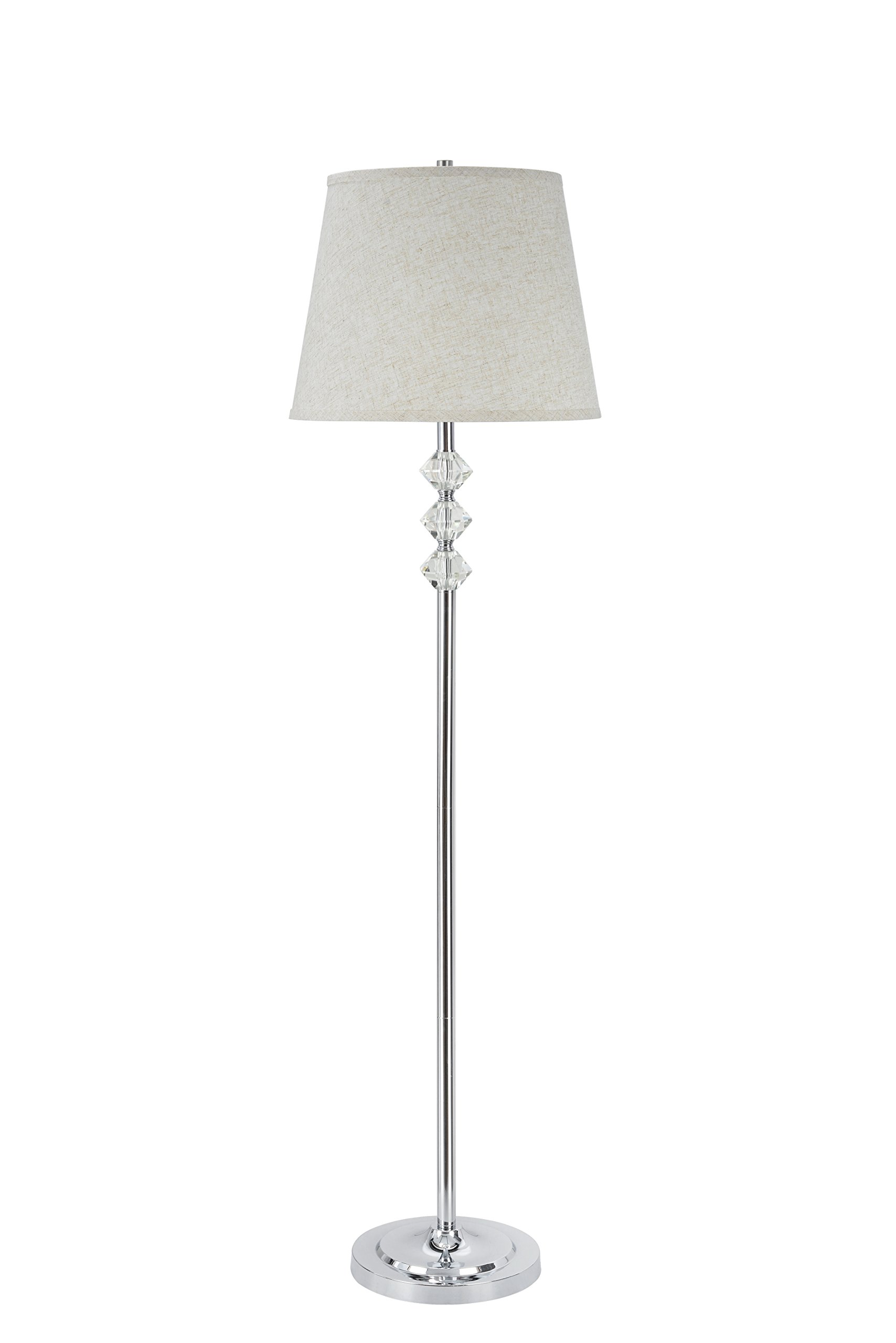 Aspen Creative 45004, 1-Light Crystal Accented Floor Lamp, Transitional Design in Chrome, 60'' High