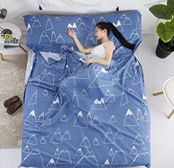 Saco de dormir doble / individual portátil tipo sobre de algodón azul hotel al aire libre cuatro estaciones adultos plegable Saco de dormir 4 tamaños: ...