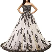Kivary Gothic Black Lace Ball Gown Long Prom Dresses Wedding Gowns