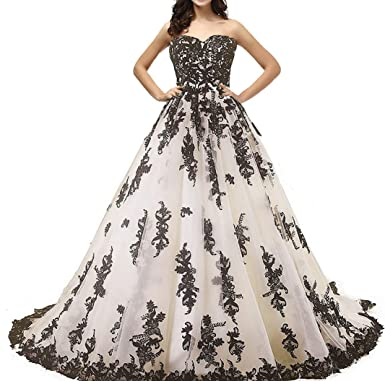 c68f937cac6 Vintage Gothic Black Lace Ball Gown Long Prom Dresses Wedding Gowns Beige US  2